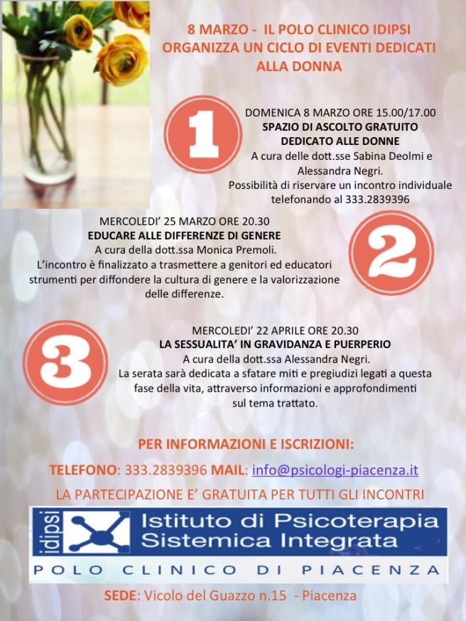 Polo Psicologia Idipsi - ciclo di eventi dedicato alle donne